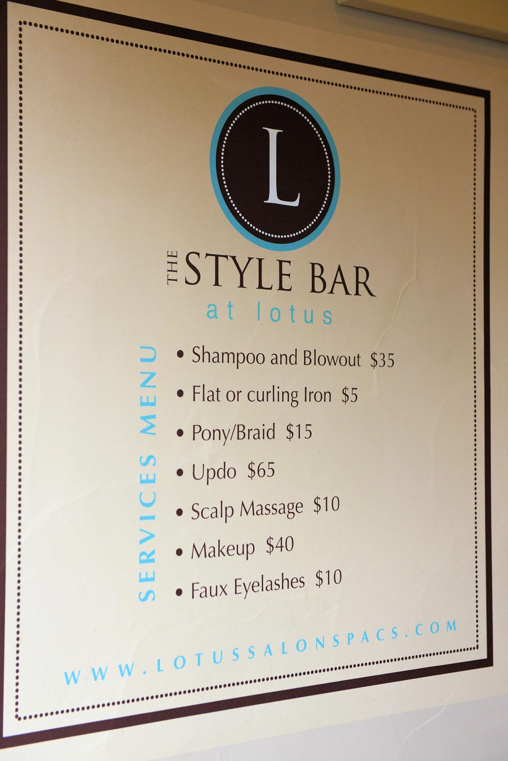 The Style bar provides last minute touches like updo's, makeup, and faux eyelashes quickly and beautifully.