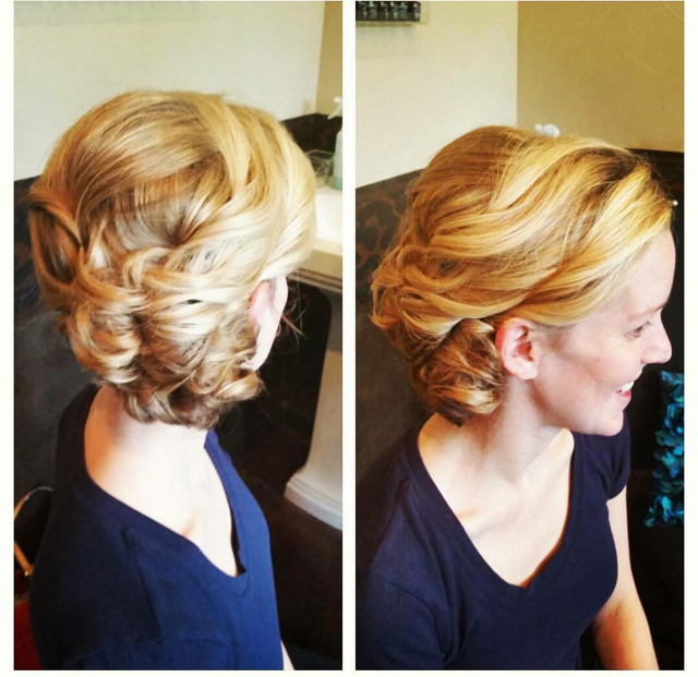 Even shorter-length hair can be designed into a beautiful updo arrangement.