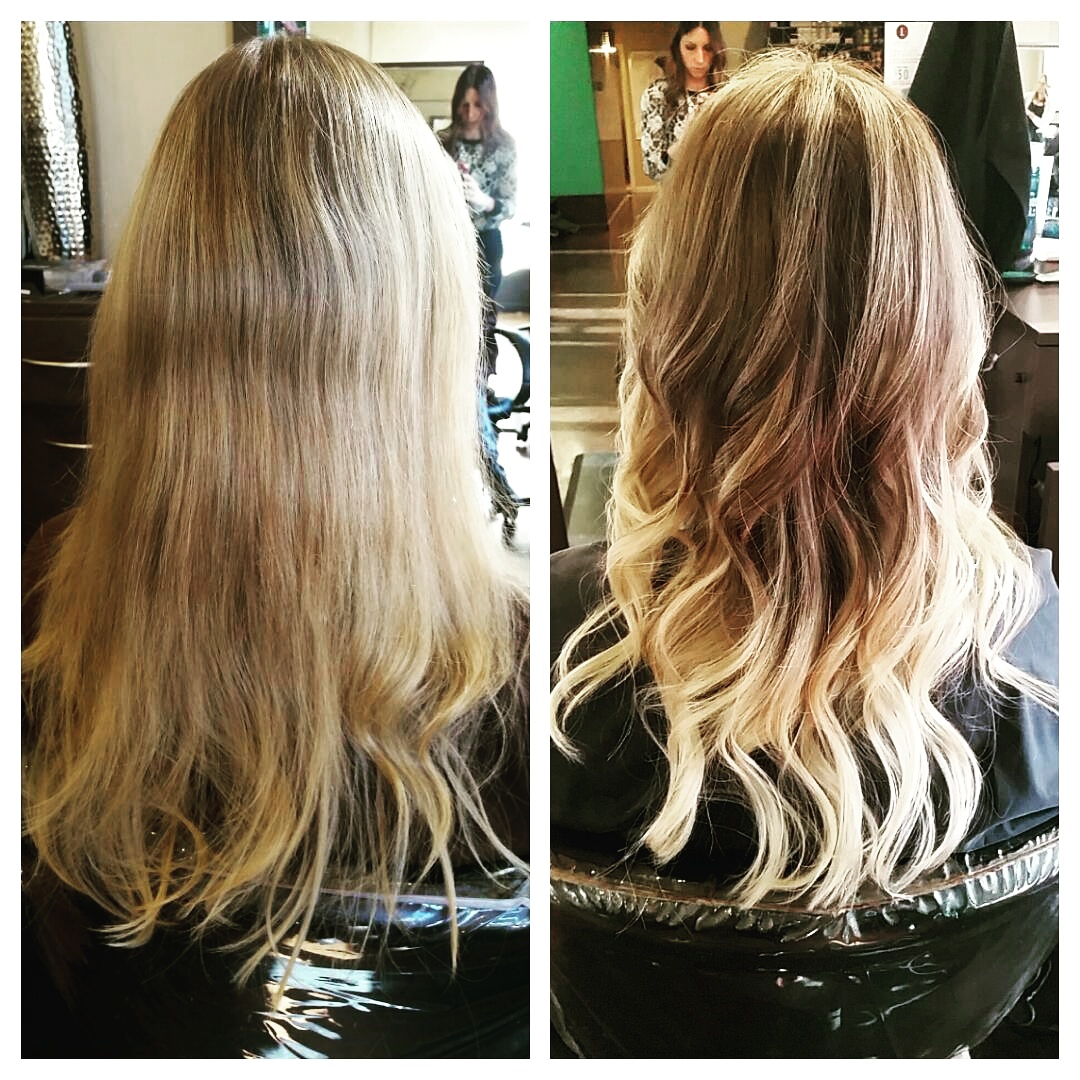This fun color treatment pops the ends with bright blonde while keeping a crown of ombre.