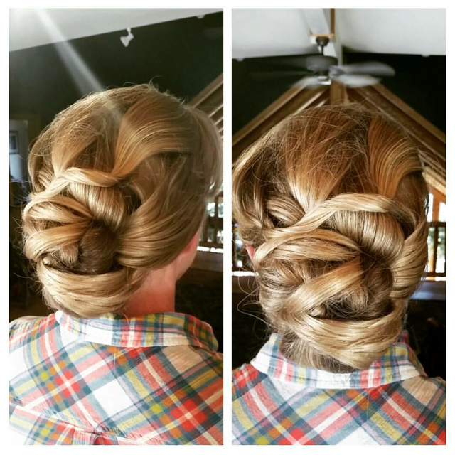 Layers of color are brought to life with this unique updo creation.