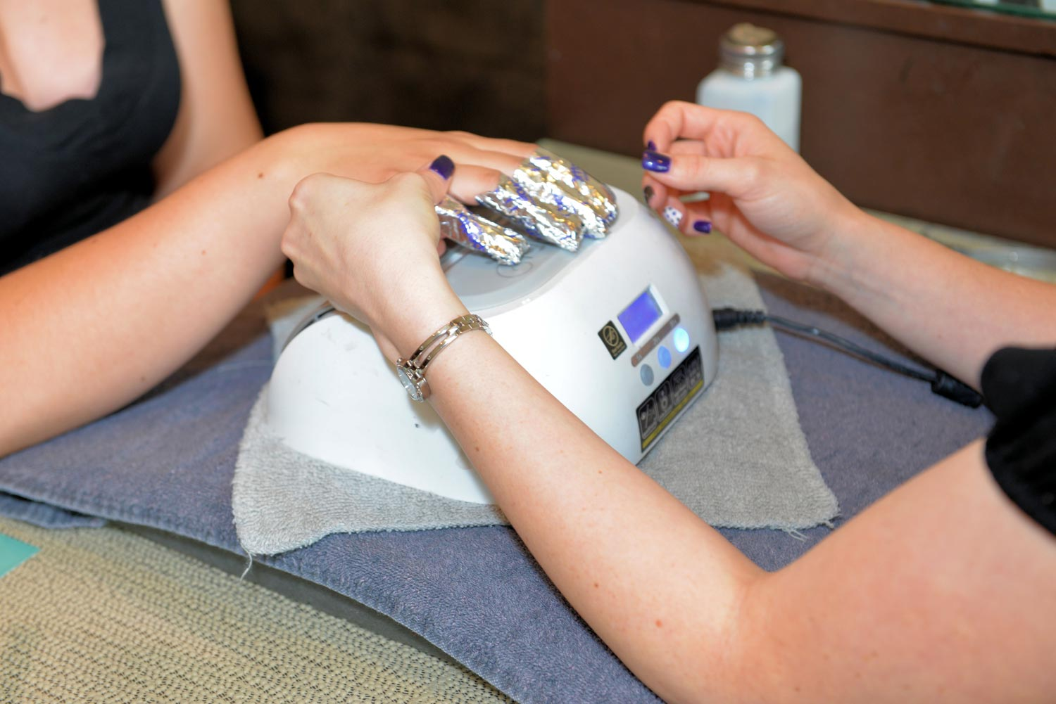 Gel or shellac manicures keep nails fresh and polished much longer than traditional manicures.