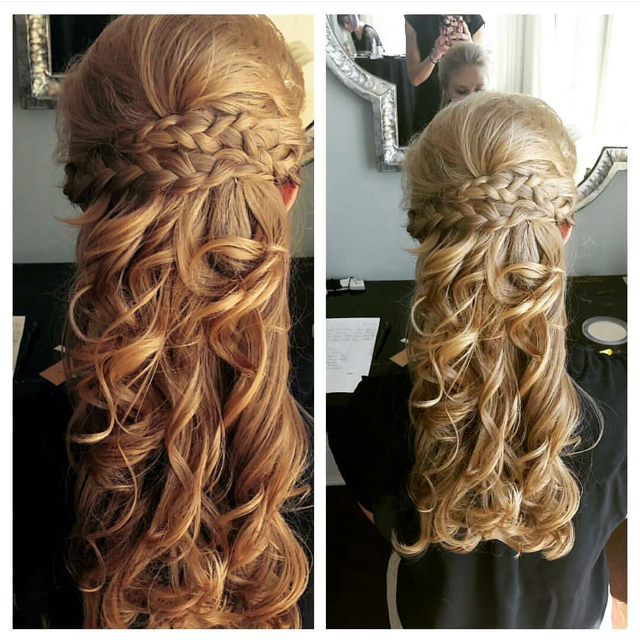 Intricate braiding highlights these elegant curls for a dazzling combination.